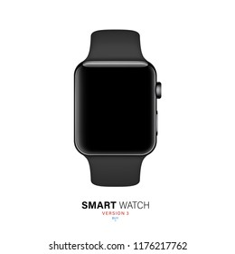 smart watch black color on white background. stock vector illustration eps10