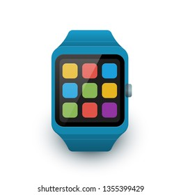 Smart watch with colorful app icons on the screen. Vector illustration of smartwatch icon on white background