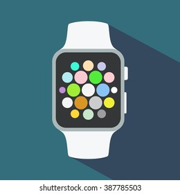 Smart watch flat icon. Vector illustration, EPS10.