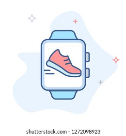 Smart watch icon, pedometer smartwatch vector icon.