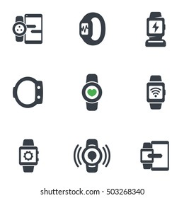 smart watch icons isolated on white, fitness tracker, synchronization with phone, wearable devices, charging station, vector illustration