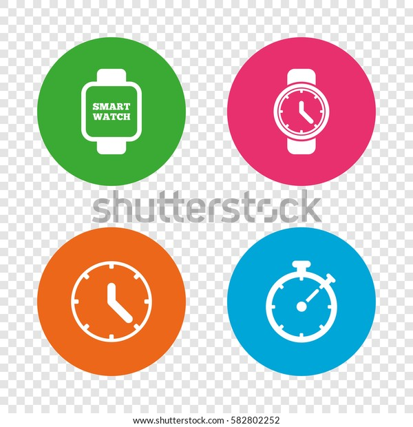 Smart watch icons. Mechanical clock time, Stopwatch timer symbols. Wrist digital watch sign. Round buttons on transparent background. Vector