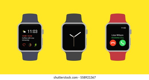 Smart Watch Icons Set. Smartwatches displaying various information in three different color isolated on yellow background. Modern flat vector illustration.