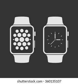 Smart watch with icons. Vector illustration.