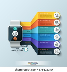 Smart Watch Infographic Design Template. Can be used for workflow layout, diagram, number, step up options, web design, presentation, infographic.