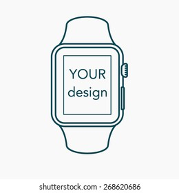 Smart watch isolated in outline  style on white background. Vector illustration.