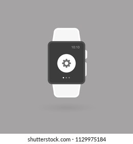 Smart watch isolated. Setting tool icon. Vector illustration, flat design
