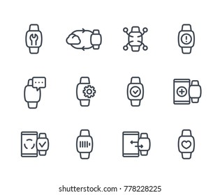 smart watch line icons set on white, fitness app, synchronization with cloud or smartphone, wearable device, charging, notifications, configuration