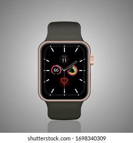 Smart watch realistic vector illustration.