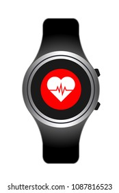 smart watch wearable technology heart cardiology.Heart rate. Fitness tracker smart watch illustration with heart rate monitor, flat cartoon vector style design. Modern stylish wearable device