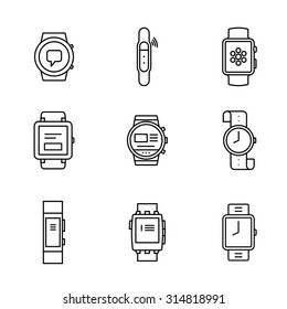 Smart watches linear icon set. Wearable electronic devices. Simple outlined icons. Linear style