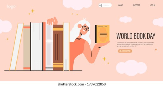 Smart woman or teacher in glasses hold a book and hide behind a pile of books. World book reading or literacy day banner, web page, social media post. Book market or fair concept. Online reading.