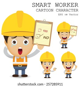 Smart worker cartoon character eps 10 vector illustration