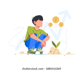Smart working young hold money coin, investment saving concept