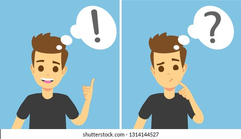 Smart young man thinking, understands problem and finds successful solution, vector cartoon characters isolated. Young man character solution and thinking illustration. Vector eps 10