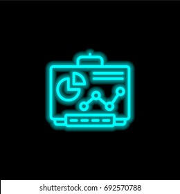 Smartboard blue glowing neon ui ux icon. Glowing sign logo vector