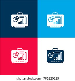 Smartboard four color material and minimal icon logo set in red and blue