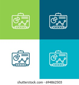 Smartboard green and blue material color minimal icon or logo design