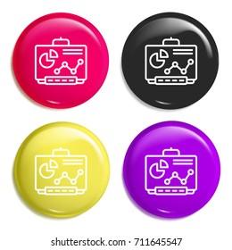 Smartboard multi color glossy badge icon set. Realistic shiny badge icon or logo mockup