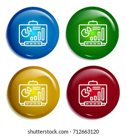 Smartboard multi color gradient glossy badge icon set. Realistic shiny badge icon or logo mockup