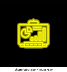 Smartboard yellow glowing neon ui ux icon. Glowing sign logo vector
