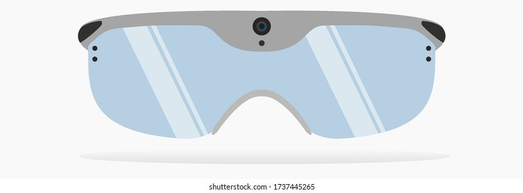 Smartglasses or smart glasses or AR glasses are wearable computer glasses. Front view.