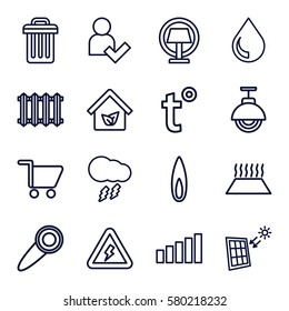 Smarthome vector icons. Set of 16 Smarthome outline icons such as eco house, drop, flame, radiator, heating system in car, temperature, street lamp, table lamp, signal