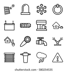 Smarthome vector icons. Set of 16 Smarthome outline icons such as smart home, coffee machine, watering system, snowflake, tap, window shutter, siren, thunderstorm, door knob