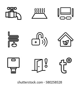 Smarthome vector icons. Set of 9 Smarthome outline icons such as eco house, opened security lock, tap, heating system, heating system in car, temperature, TV set, door warning