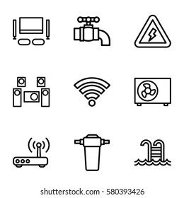 Smarthome vector icons. Set of 9 Smarthome outline icons such as router, tap, air conditioner, audio system, TV set, wi-fi, swimming pool