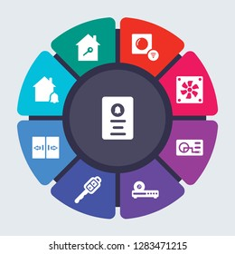 smarthome vector template for infographics. Business concept with 9 options, steps, parts, segments. Banner infographic cycling diagram, round chart, Doorbell, Door key, Dimmer, Cooler icons