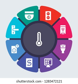 smarthome vector template for infographics. Business concept with 9 options, steps, parts, segments. Banner infographic cycling diagram, round chart, Thermostat, Surveillance, Socket icons