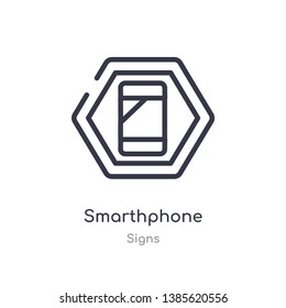 smarthphone outline icon. isolated line vector illustration from signs collection. editable thin stroke smarthphone icon on white background
