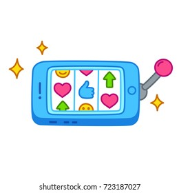 Smarthphone as slot machine with likes and notifications. Instant gratification and phone addiction concept vector illustration.