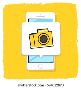 Smartphone 3d isometry flat design vector illustration. Window with photo camera icon on mobile phone screen. Concept of capture screenshot or selfie shooting.