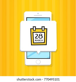 Smartphone 3d isometry flat design vector illustration. Window with calendar icon on mobile phone screen. Reminder app with notification. Schedule service concept.