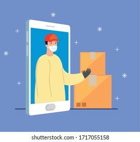 smartphone with app delivery and delivery worker using face mask vector illustration design