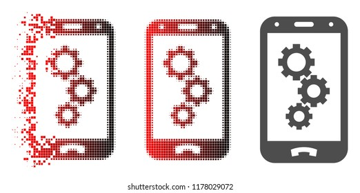 Smartphone app gears icon in fractured, dotted halftone and undamaged whole variants. Elements are grouped into vector disappearing smartphone app gears symbol.