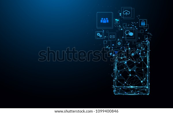 Smartphone with app icons. Abstract technology concept. Low polygonal geometric shapes