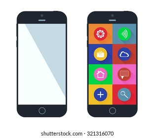 Smartphone with app icons. Mobile phone flat design. Smart phones vector illustration.