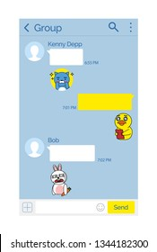 Smartphone app interface, Kakao talk korean messenger vector. Chat interface, messages and stickers, digital application, online fast communication