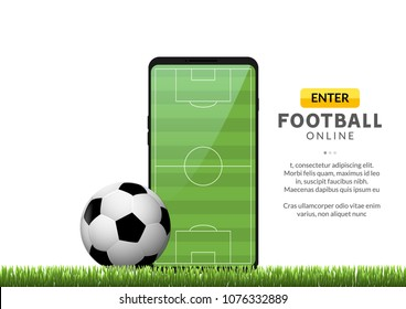 Smartphone with app soccer football field and ball. Mobile sport stream championship to play.