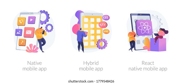 Smartphone application abstract concept vector illustration set. Native, hybrid and react-native mobile app, programming language, operating system, online store, marketplace abstract metaphor.