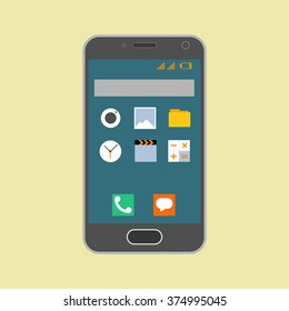 Smartphone with application icons on the white background. Vector illustration