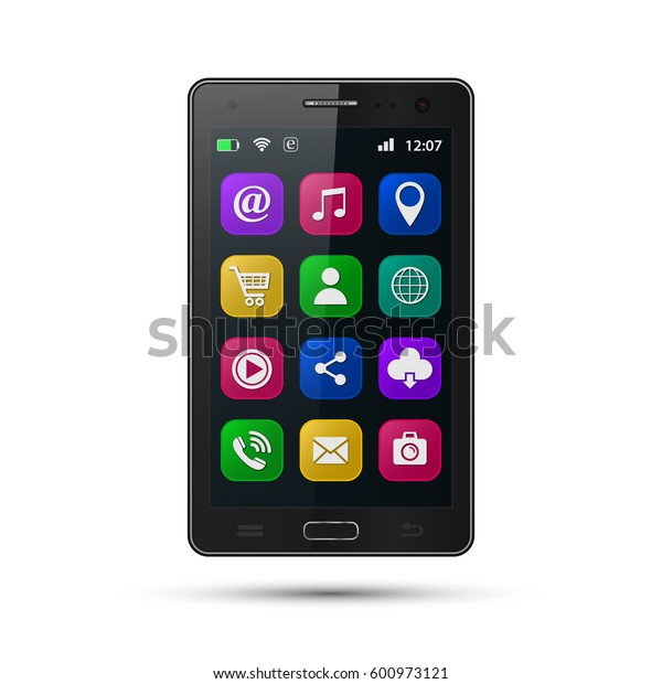 Smartphone with application icons. Vector isolated realistic modern mobile phone with apps.