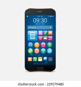 Smartphone with application icons.vector