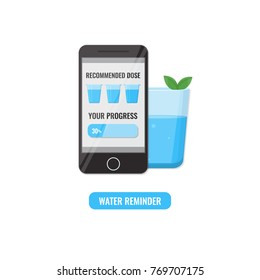 Smartphone with application for remind drink recommend dose of water every day and tracking your progress. Healthy lifestyle concept. Vector illustration.