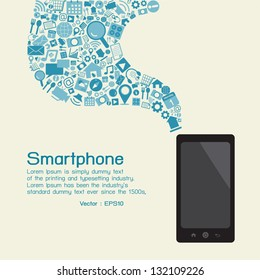 Smartphone and applications, vector
