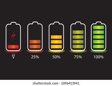 Smartphone with battery charge level indicators isolated on background. Vector illustration. Discharged and fully charged battery of smartphone.