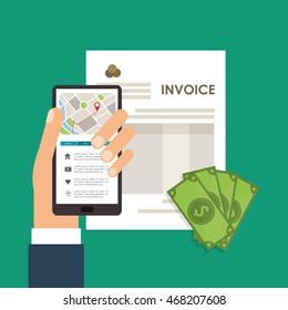 smartphone bills document payment financial item icon. Invoice design, vector illustration